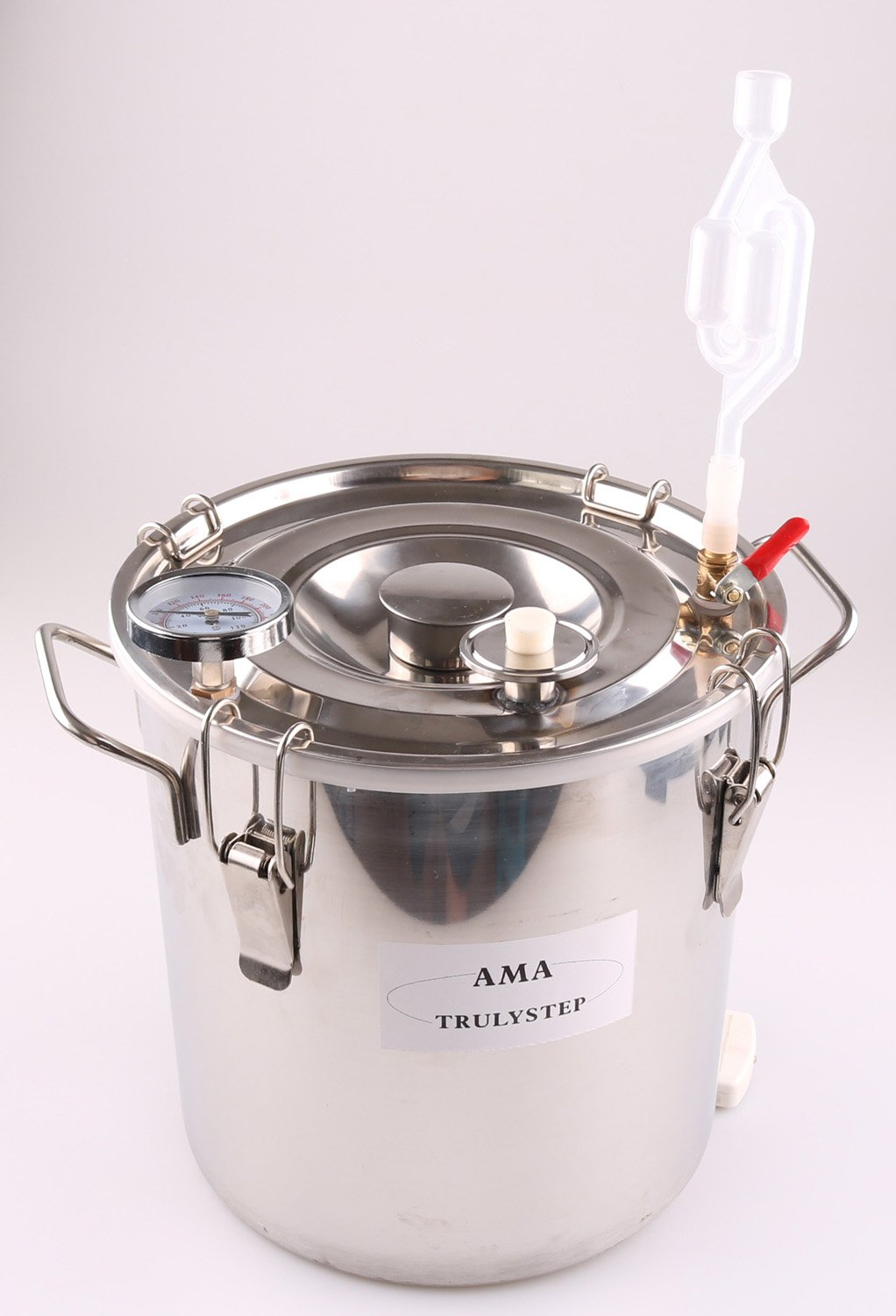 Spare Parts for Moonshine Still/Home Distiller: Stainless Fermenter Pot Boiler & Thermometer & Airlock (fit 2 Pots Distiller, 8 Gallon 30 Litres)