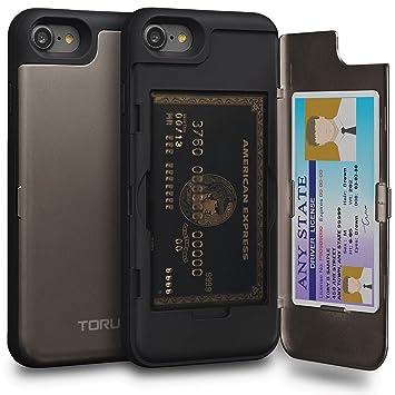TORU CX Pro Funda iPhone 8 Carcasa Cartera con Tarjetero Oculto y Espejo para Apple iPhone 8 / iPhone 7 - Gunmetal Gris