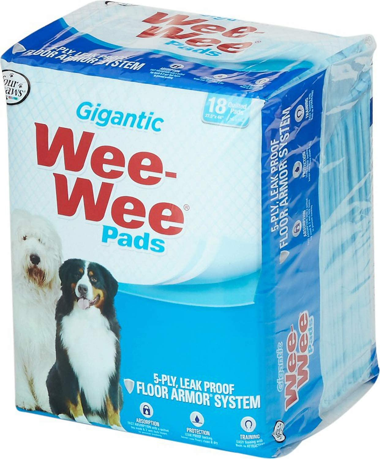 Four Paws Wee-Wee Pads, Gigantic, 18 per Pack