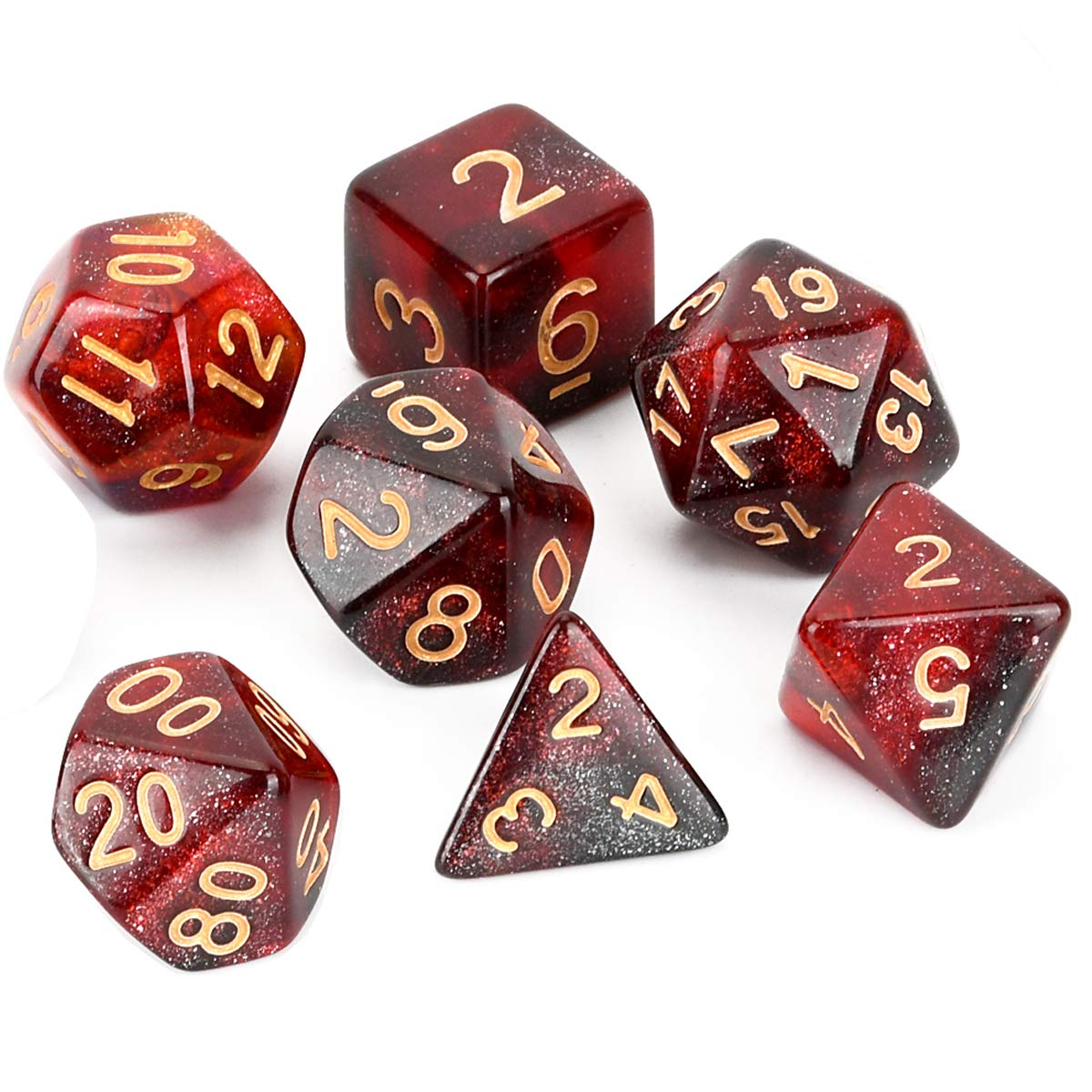 RPG Dices Set 7 Piezas FLASHOWL Juego de Dados de 3 Colores D/&D Dados de camale/ón Dados de la V/ía L/áctea Dados DND Dados Starry Sky Dice Dungeons and Dragons Dice MTG