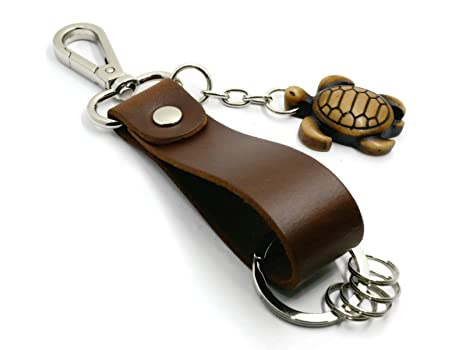 Amazon.com: brownbeans, unisex de piel llavero Key cadena ...