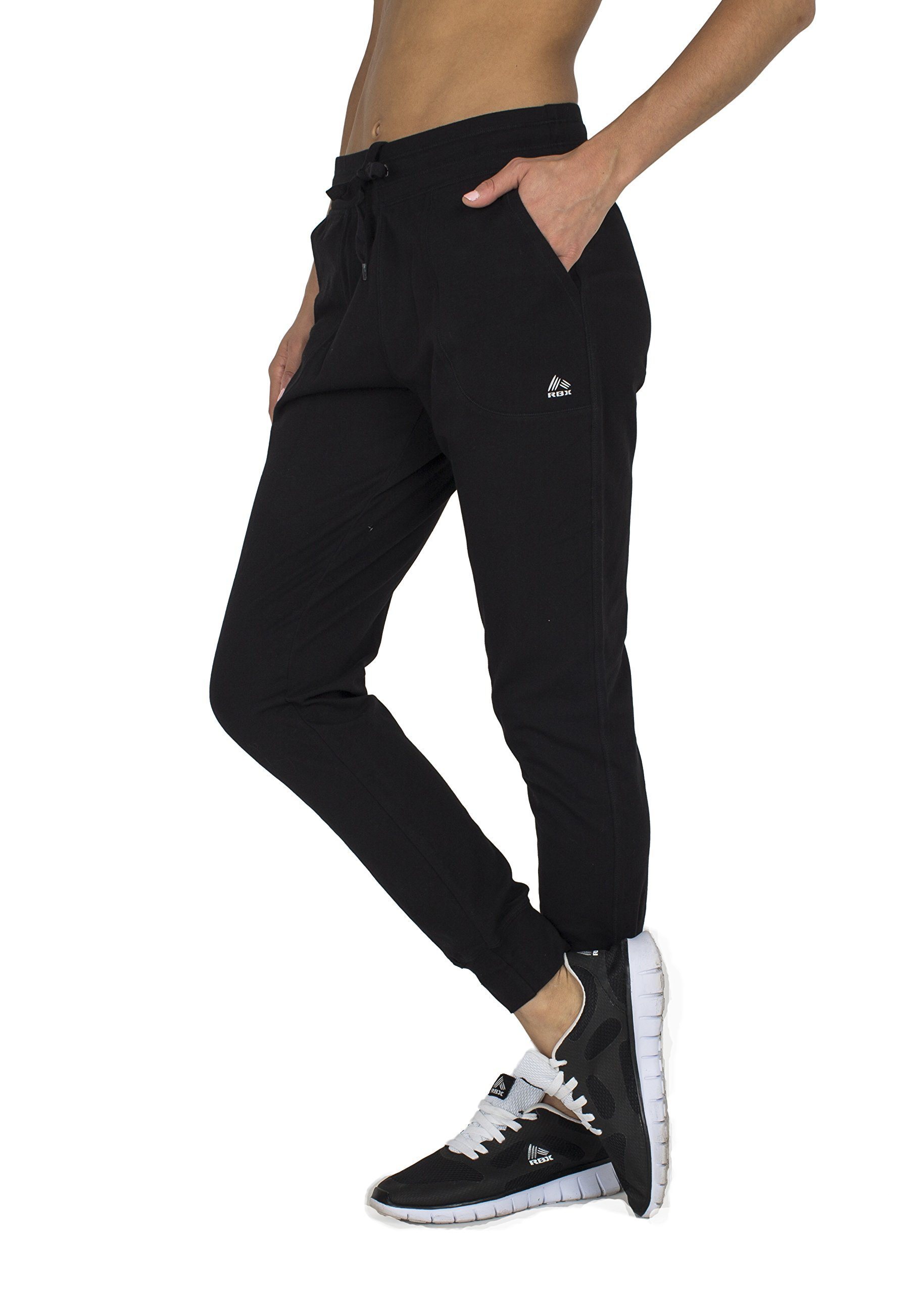 RBX Active womens Full Length Cotton Jogger,Black,Medium by RBX