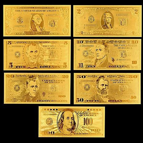7Pcs//Set Commemorative Gold Foil USA Dollars Paper Money Banknotes Collections