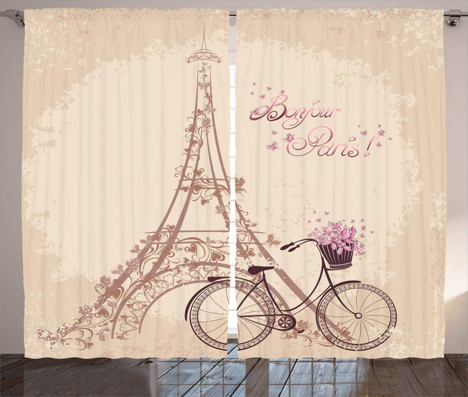 Ambesonne Paris Curtains Bonjour Super Fees free!! special price France and Eiffel Vintag Tower