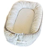 Newborn Baby Nest - Easy to Move, Co-Sleeping, Breathable and Soft, 100% Cotton and Eco-Friendly (Grey and White)