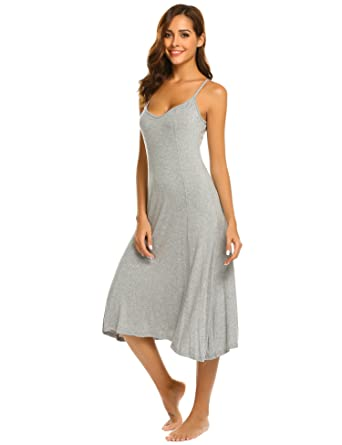 a812a871cc Hotouch Lady s Sexy V Neck Backless Plain Swing Cami Midi Casual Party Dress  Light Gray S