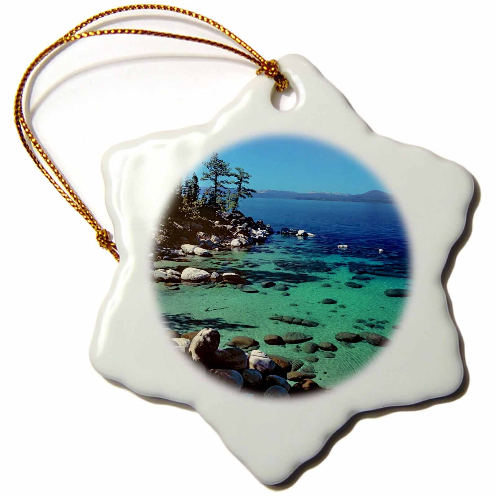 3dRose orn_92271_1 Nevada, Lake Tahoe. Highway 28-Us29 Rer0011-Ric Ergenbright-Snowflake Ornament, 3-Inch, Porcelain