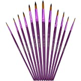 Mudder 12 Pieces Artist Paint Brushes Fine Paint Brush for Acrylic Watercolor Oil Painting, Purple