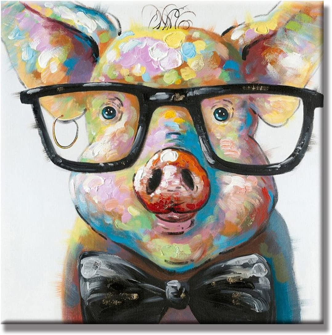 Crystal Emotion Lovely Pig with Glasses Paintings for Living Room Canvas Decor Wall Art Ready to Hang 16x16inch