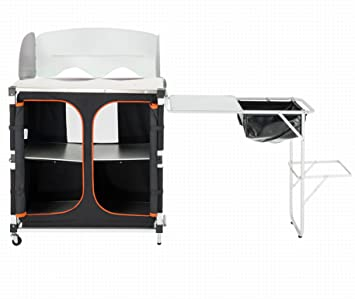 kingcamp portable light multifunctional camping kitchen cooking table with wheels locker bbq and work. beautiful ideas. Home Design Ideas
