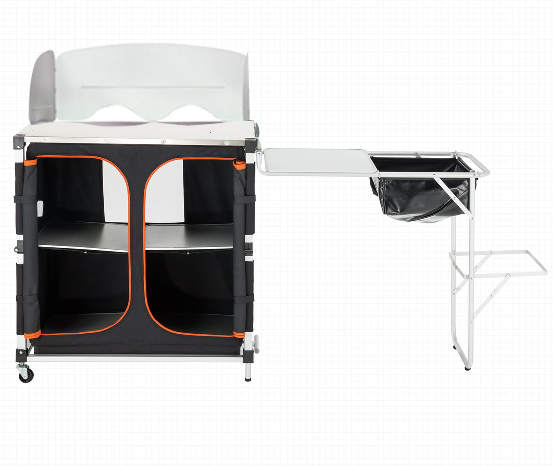 KingCamp Portable Light Multifunctional Camping Kitchen Cooking Table with Wheels Locker Sink by KingCamp (Image #1)