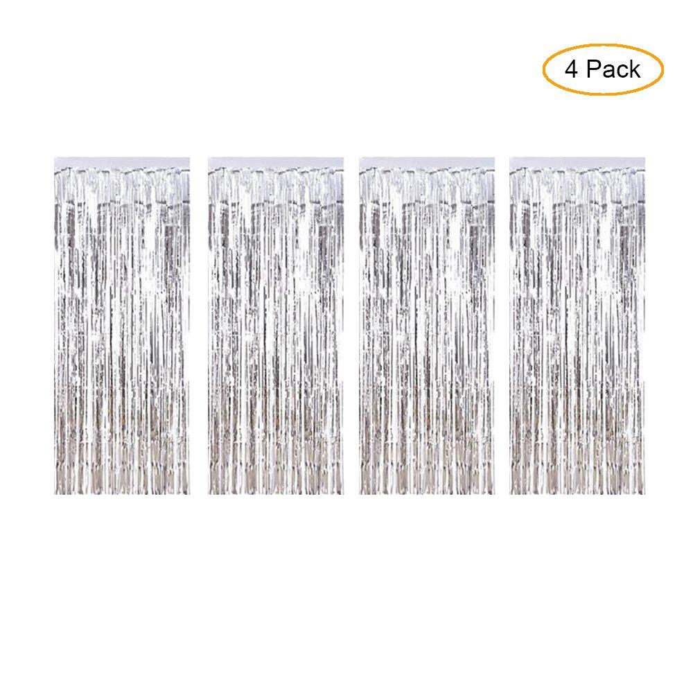 Winko Silver foil Fringe Curtain, Metallic photo booth Tinsel fondale porta tende per matrimoni, compleanni e speciali festival decorazione (3,7x 2,4m, 4pezzi)