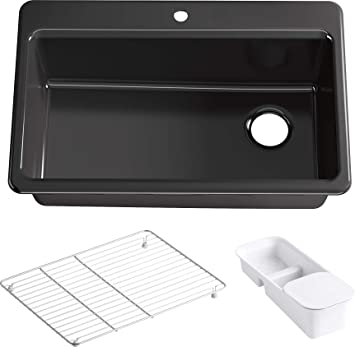 Riverby 33 In X 22 In Top Mount Single Bowl Kitchen Sink With Single Faucet Hole And Accessories Black Black Kohler Top Mount Cast Iron Sink Amazon Com