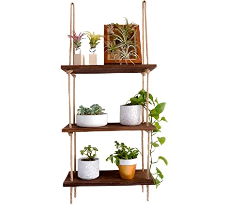 SG Rope Hanging Wall Shelf - 3 Tier Floating Shelves - Rustic Wood Mounted  Decorative & Storage Shelf - Wooden Decor Display Ledge for Bathroom, ...