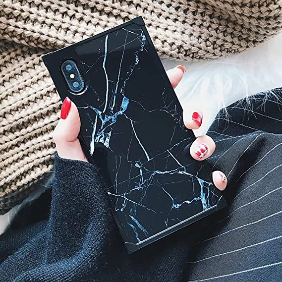 wholesale dealer c83bd 8894f YonMeet Chic Black White Marble Case for iPhone XS X 10 Retro Classic  Stylish Cover for iPhone 8 7 Plus 8plus Square Shockproof Strong Protective  Back ...