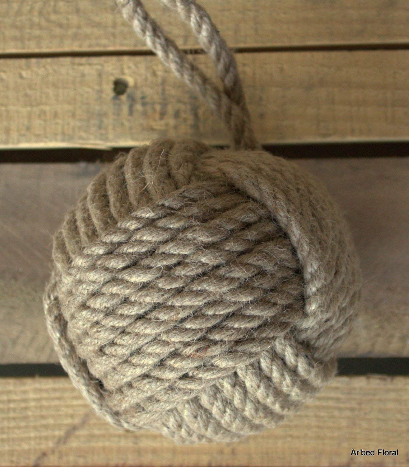YourKart 5 Monkey Fist Nautical Doorstop Natural Jute Rope Sailor Knot