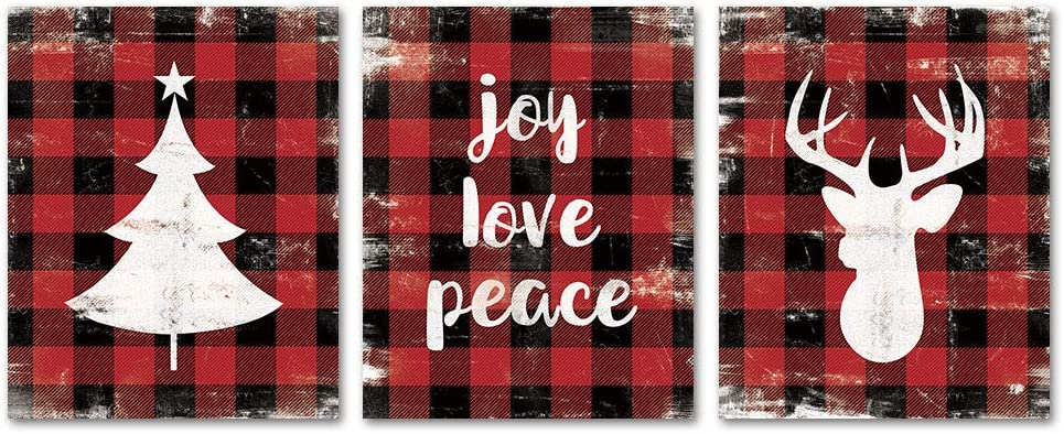 SUMGAR Christmas Wall Art Prints Unframed 8x10 Farmhouse Decor Red Black Buffalo Posters Quotes Pictures Artwork Set of 3