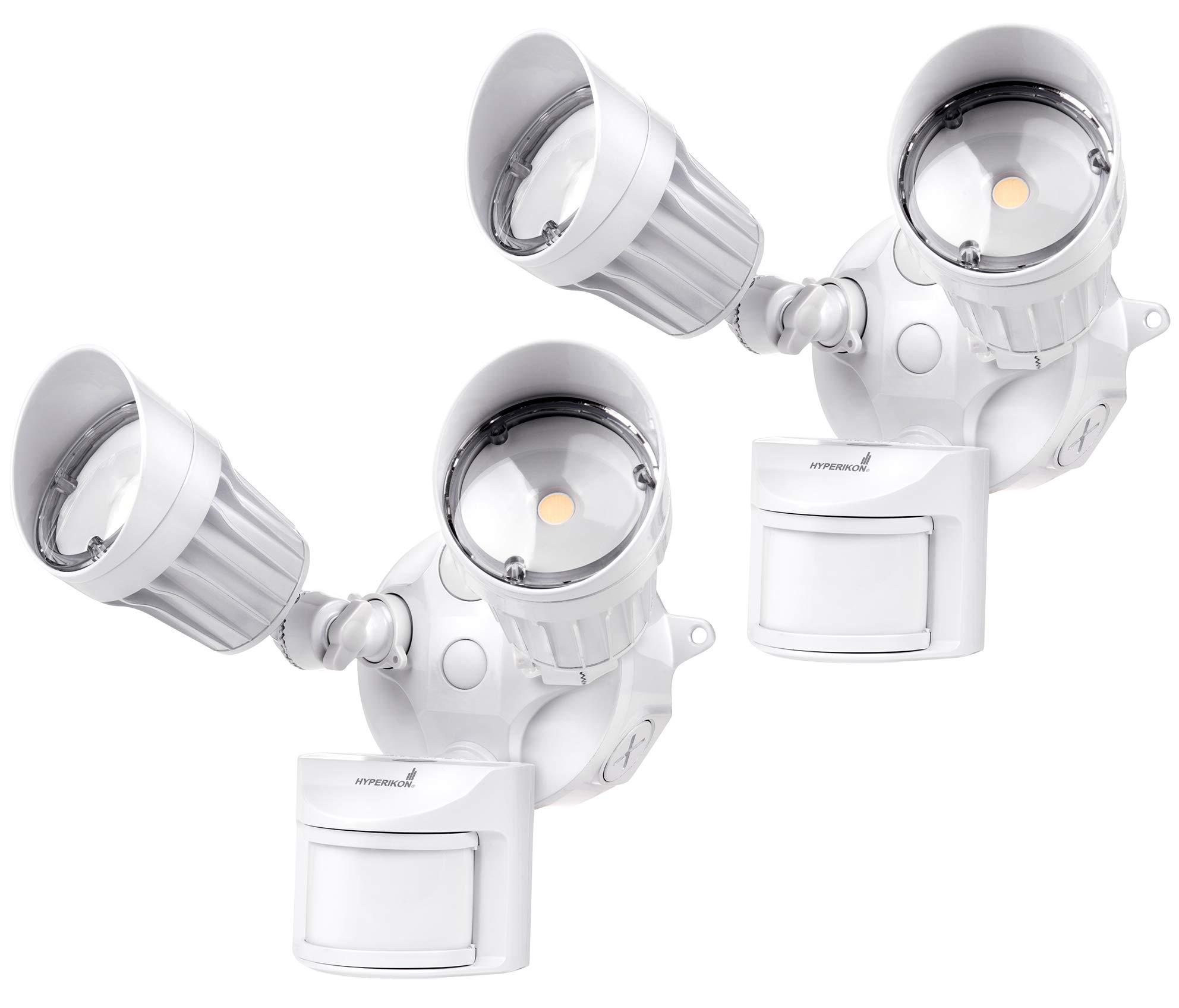 Hyperikon LED White Security Light with Motion Sensor, 20W (100 Watt), Outdoor Flood Light Dusk to Dawn, 5000K, 2 Head IP65, 2 Pack by Hyperikon