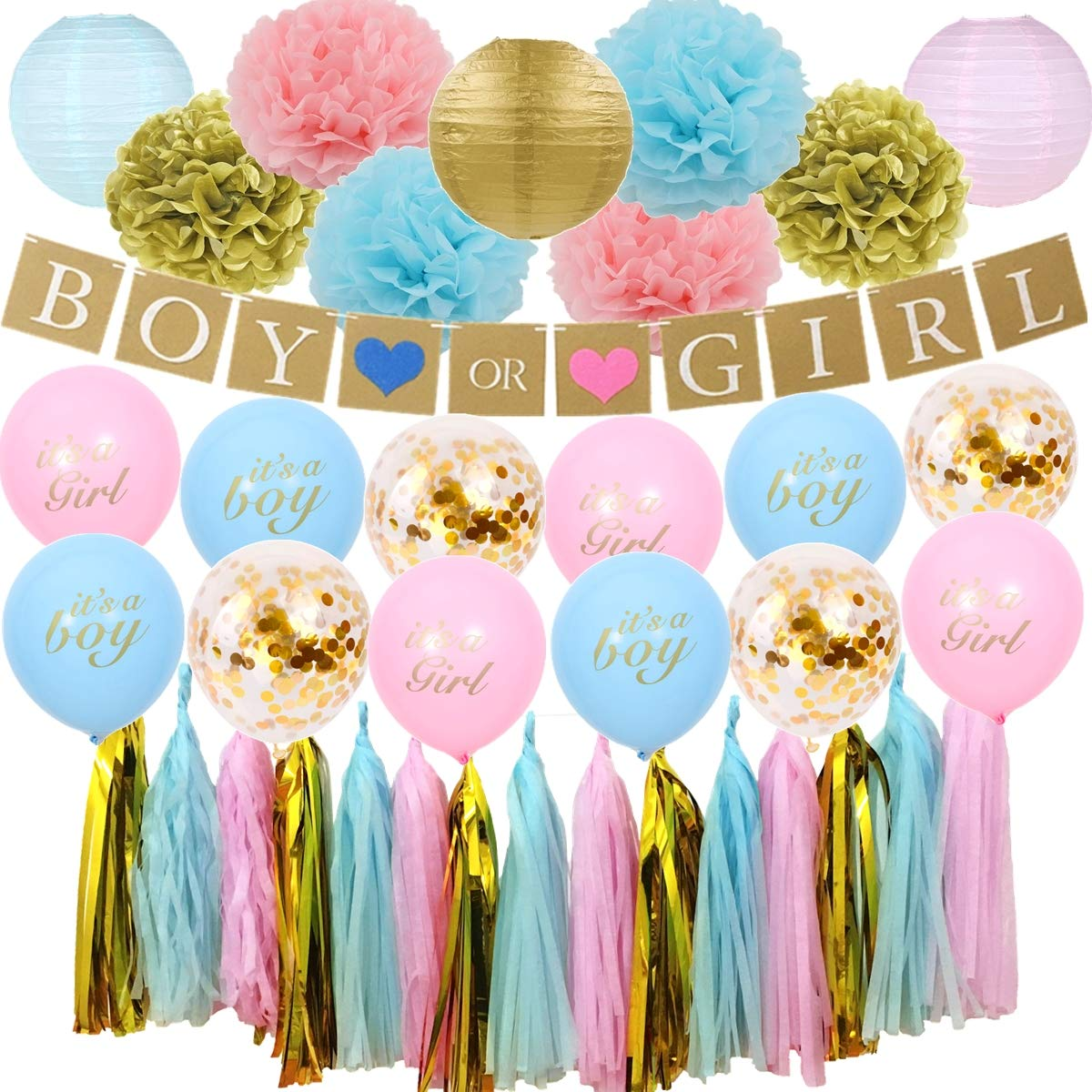 46PCS BOY or Girl Gender Reveal Baby Shower Party Decoration Set - BOY or Girl Banner, Tissue Paper Pom Pom, Paper Lantern, Tassel Garland, Its a boy/Girl Latex Balloon, Confetti Balloon