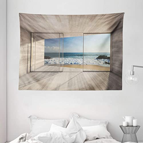 Ambesonne Modern Tapestry, Empty Modern Lounge Area with Large Window and View of Sea Waves Rocks Art, Wide Wall Hanging for Bedroom Living Room Dorm, 80 X 60 , Tan Blue