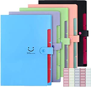 5 Pack Expanding File Folders Accordion Document Organizer, Letter A4 Paper Placstic File Folder 5 Pocket Expandable File Jackets for School Office Home