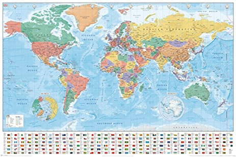Amazon world map flags and facts educational poster 36x24 world map flags and facts educational poster 36x24 gumiabroncs Images