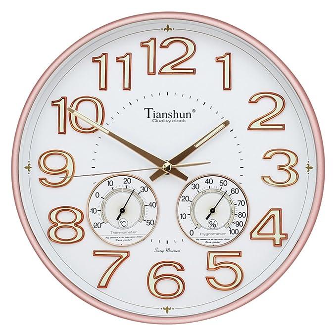 @Reloj de Pared Números luminosos del reloj de pared redondo de 12 pulgadas Fácil de leer Luz nocturna silenciosa del no-tic-tac con temperatura e ...