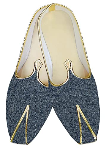 Mens Steel Blue Jute Polyester Wedding Shoes MJ015382