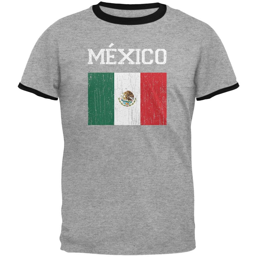 bd3e9147d2154 Top5  Old Glory World Cup Distressed Flag Mexico Mens Ringer T Shirt