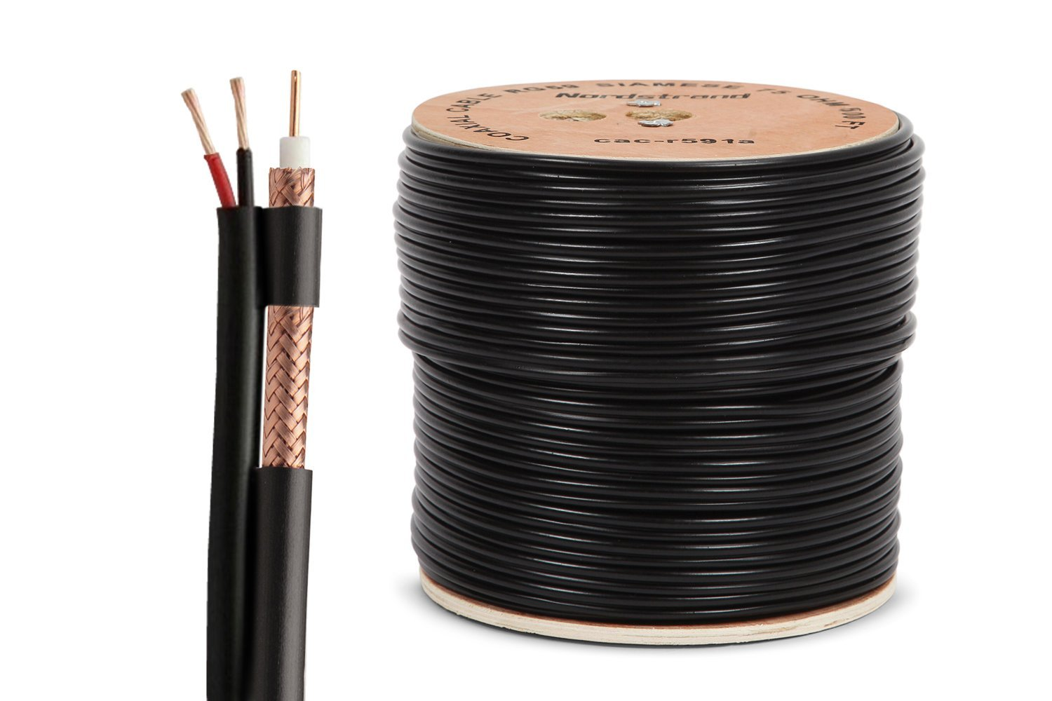 Nordstrand 500ft Siamese Coaxial Rg59 Cable Wire For Wiring Money Safety Cctv Security Camera Combo Video Power 20awg Photo