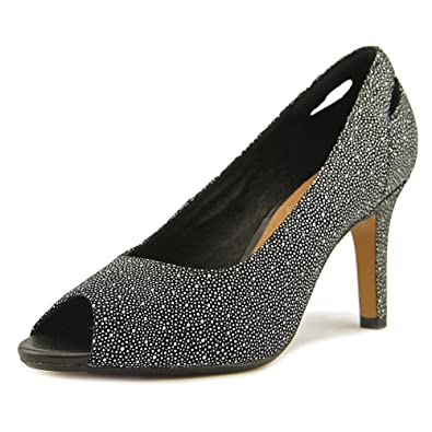 CLARKS Artisan Heavenly Maze PeepToe Pumps Black Gray 6 M
