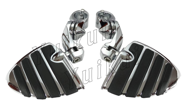 YUIKUI RACING オートバイ汎用 1-1/4インチ/32mmエンジンガードのパイプ径に対応 ハイウェイフットペグ タンデムペグ ステップ YAMAHA XVS DRAG STAR ROAD STAR/YAMAHA XV VIRAGO/RAIDER等適用   B07PVSBBFW