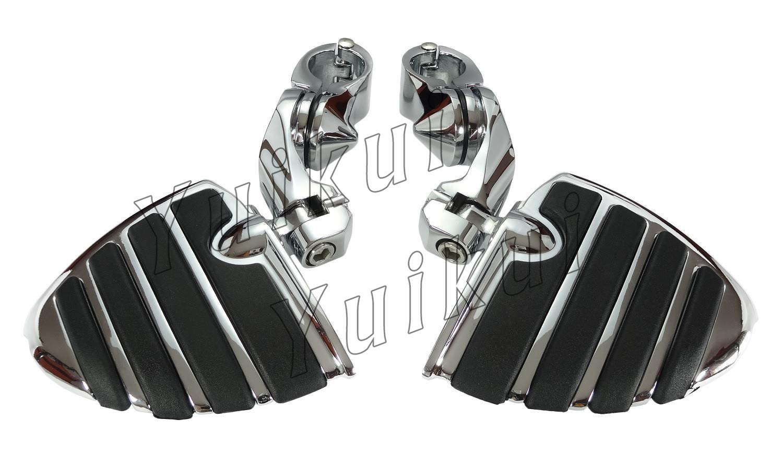 YUIKUI RACING オートバイ汎用 1-1/4インチ/32mmエンジンガードのパイプ径に対応 ハイウェイフットペグ タンデムペグ ステップ HONDA VTX 1800C/F/N/R(RETRO)/S/T(TOURER) 2002-2008等適用   B07Q13D91M