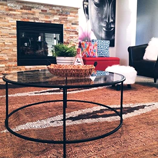 Amazon Com Mid Century Coffee Table Metal And Glass Material