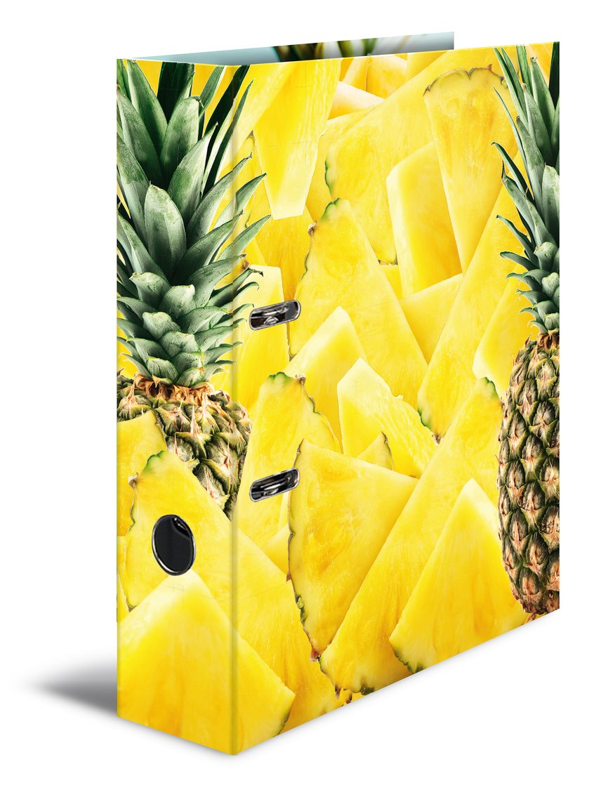 Herma 7113 A4 Motif Lever Arch Card Range Fruit – Pineapple, 70 mm Wide, 1 Lever Arch File with Inner Print 70 mm Wide