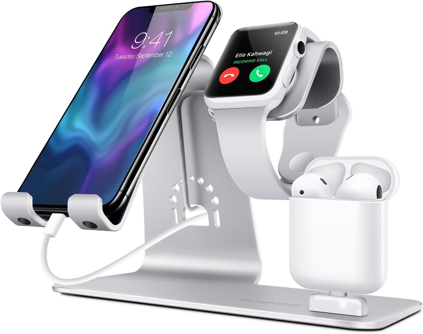 Soporte 3 en 1 para móvil, reloj y auriculares