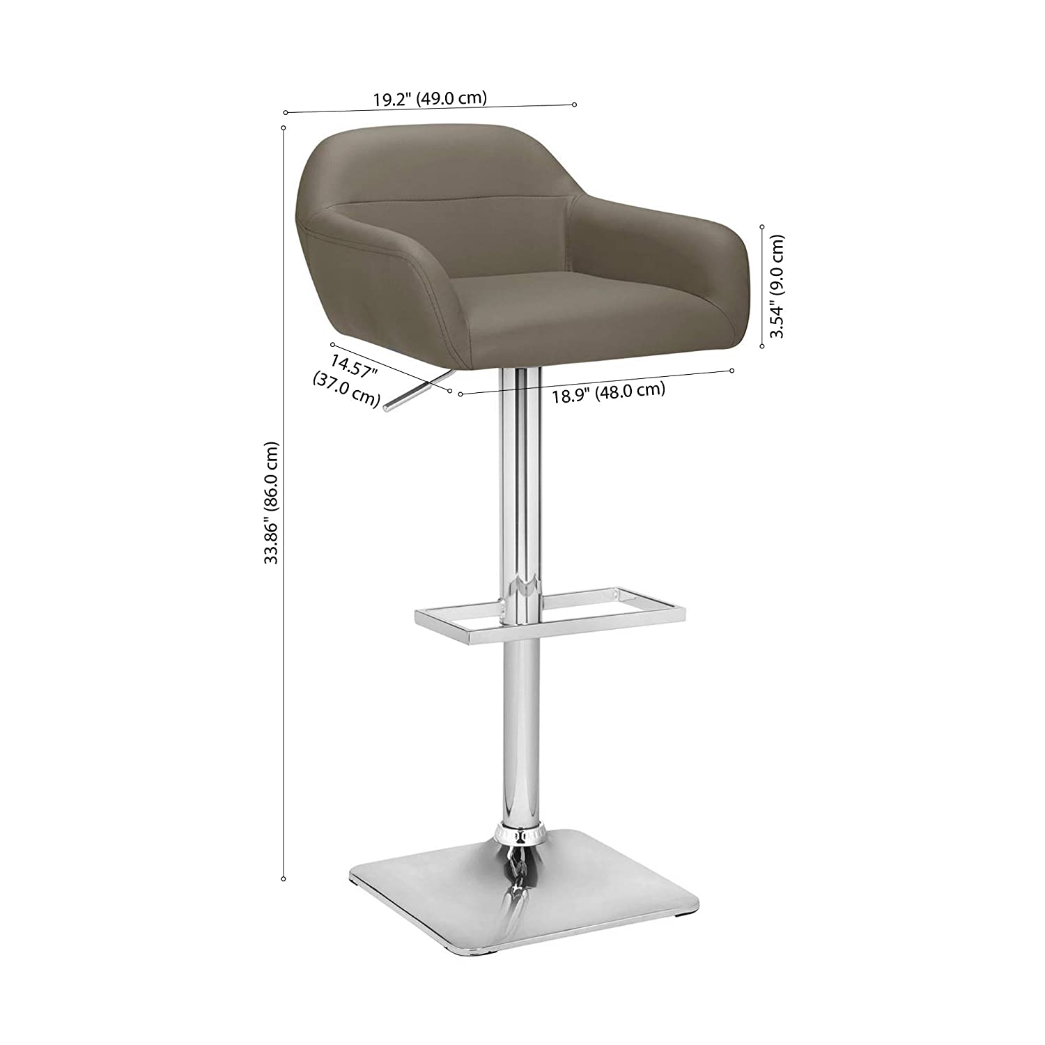 Fine Bouclair Matte Faux Leather And Chrome Adjustable Bar Stool Taupe Modern Contemporary Counter And Dining Seat 18 5 W X 42 1 H Gmtry Best Dining Table And Chair Ideas Images Gmtryco