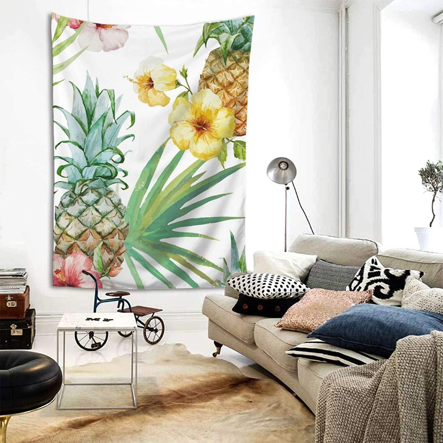 Hangyin Pineapple and Flowers Tapestry Wall Tapestry Home Decor for Bedroom Living Room College Dorm 80x60 Inches