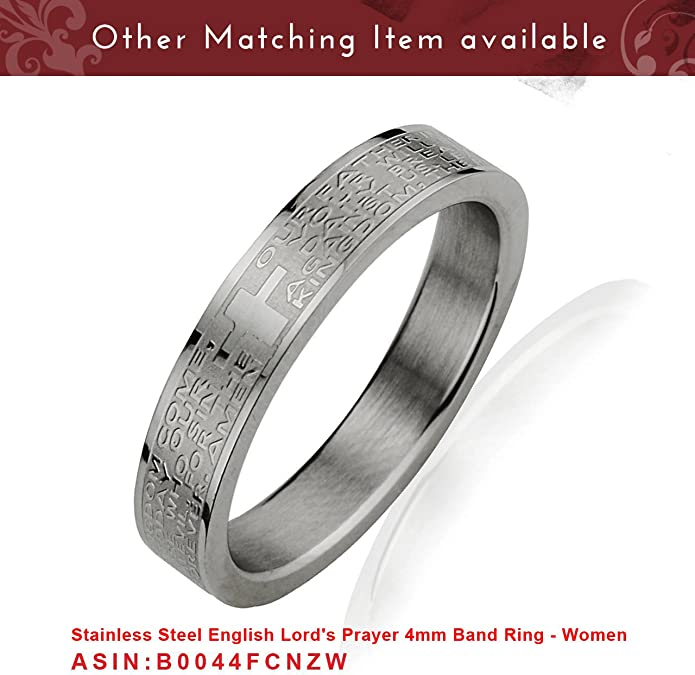 Details about  /Lords Prayer mens ladies 8mm Ring 316 stainless steel size 9
