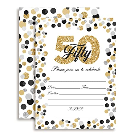 Image Unavailable Not Available For Color Confetti Polka Dot 50th Birthday Party Invitations