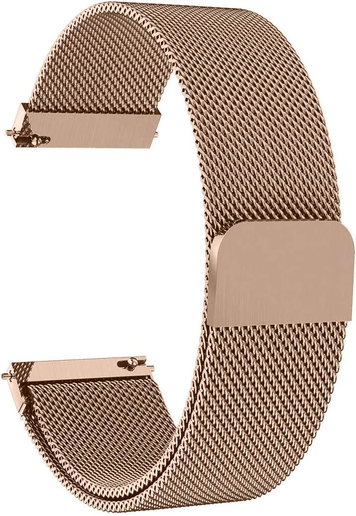 Morsey Compatible with Samsung Galaxy Watch (42mm)/Galaxy Watch Active/Active2 Bands, 20mm Stainless Steel Mesh Loop Replacement Bracelet Strap for Galaxy Watch 42mm/Gear Sport Smartwatch (Rose gold)