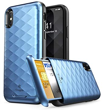 best website 6ba6d a6745 Clayco Argos Series Protective Case for iPhone X with Pocket Credit Card  Holder, Blue