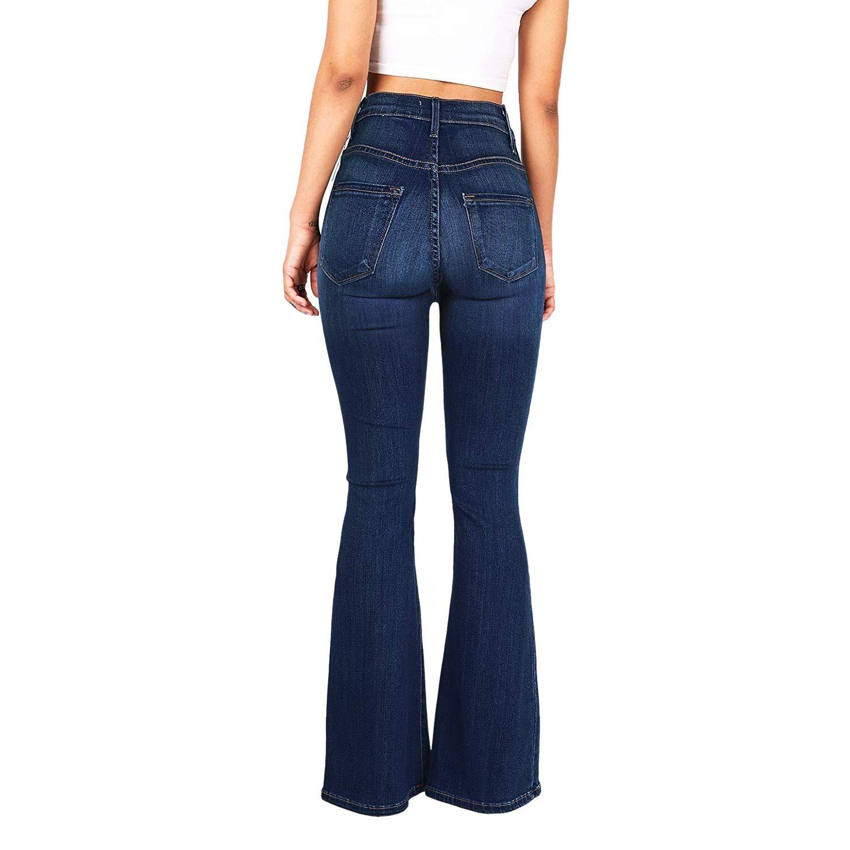 Vaqueros Xzante Jeans Con Pata Elefante Apto De Multi Boton Elastico De Cintura Alta Vintage De Mujer Pantalones De Mezclilla Lavados Informal Para Se Ora Azul Oscuro 4xl Ropa Brandknewmag Com