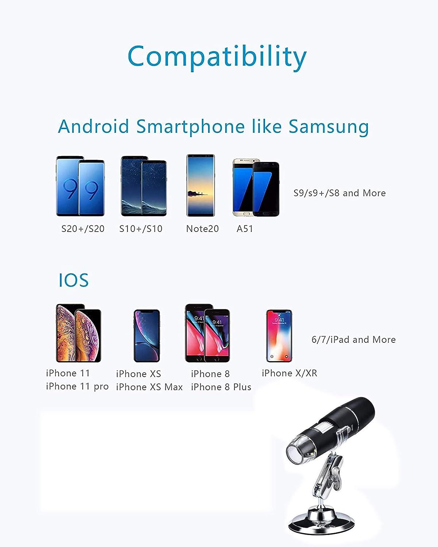 Android-Telefon Mini Kamera 50 bis 1000x Vergr/ö/ßerung Endoskop 8 LED Taschen-Handmikroskopkamera mit Metallst/änder Kompatibel mit iPhone USB Mikroskope WiFi Digital Mikroskop Windows Mac iPad