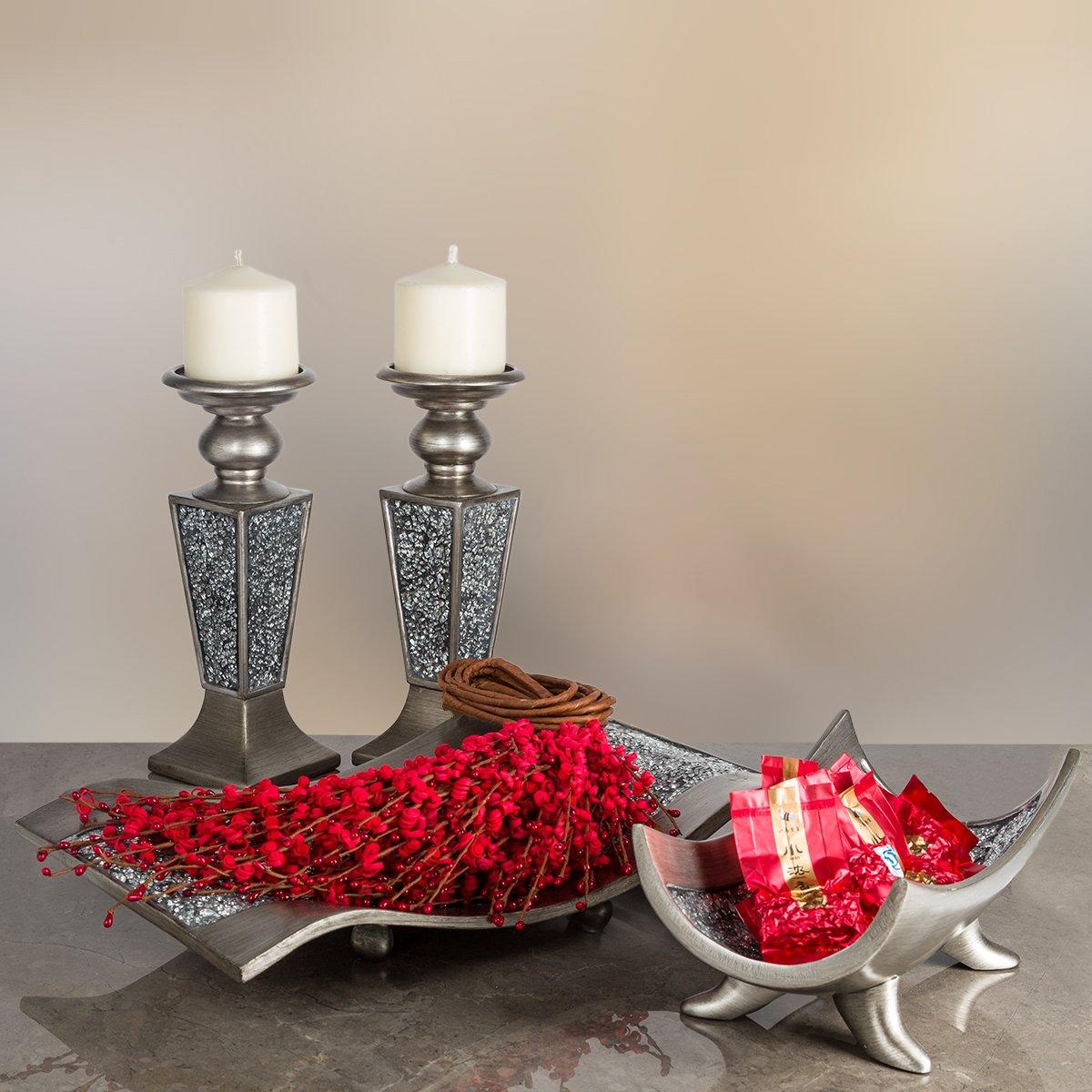 interesting wallpaper centerpieces living room coffee table | Creative Scents Schonwerk Pillar Candle Holder Set of 2 ...