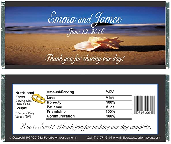 Amazon Personalized Beach Wedding Favor Candy Bar Wrappers