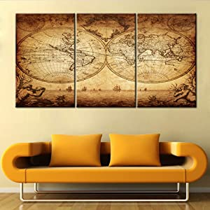 Wall Art for Living Room Global Map Retro Pictures on Canvas Ancient Sailboat Paintings Contemporary House Decor Premium Quality Artwork Giclee Framed Ready to Hang Posters and Prints(42''Wx20''H)