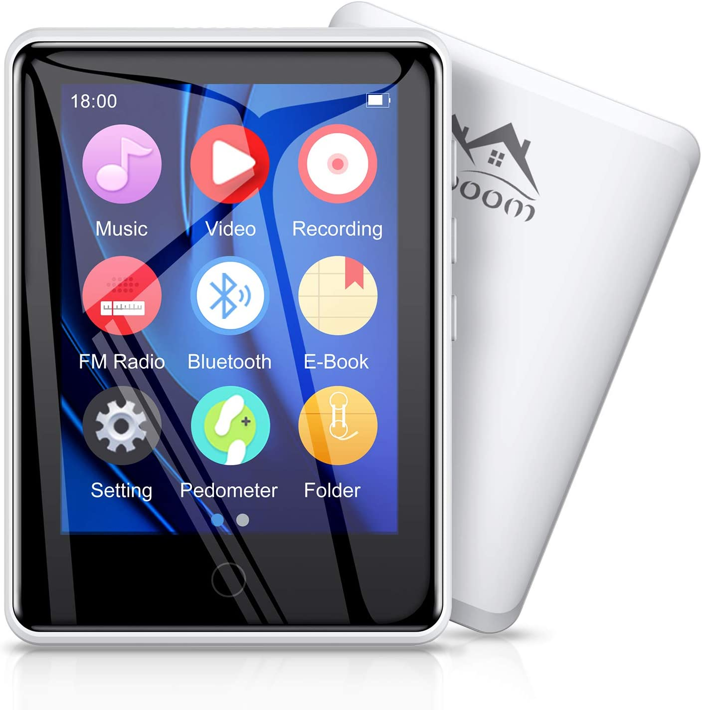 Timoom M6 32GB Reproductor MP3 Bluetooth 5.0 Running Reproductor MP4 con Pantalla de 2.8 Pulgadas y Botón Táctil Radio FM/E-Book/Video/Archivo/Foto, Soporte Expandible hasta 128G