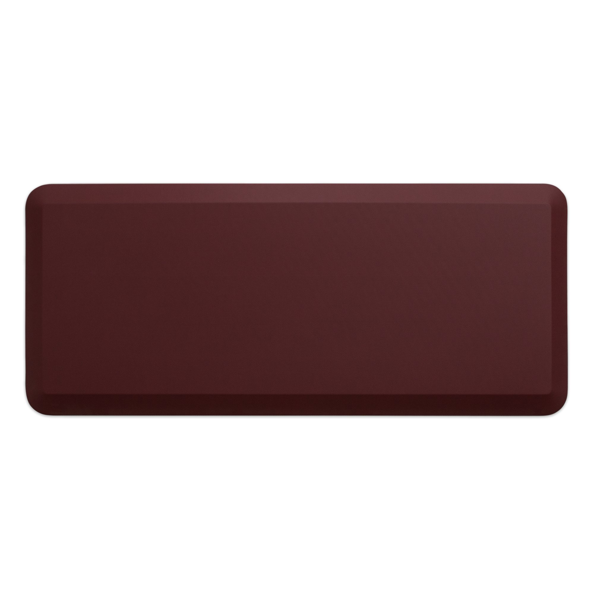 "NewLife by GelPro Anti-Fatigue Designer Comfort Kitchen Floor Mat, 20x48"", Leather Grain Cranberry Stain Resistant Surface with 3/4"" Thick Ergo-foam Core for Health and Wellness"