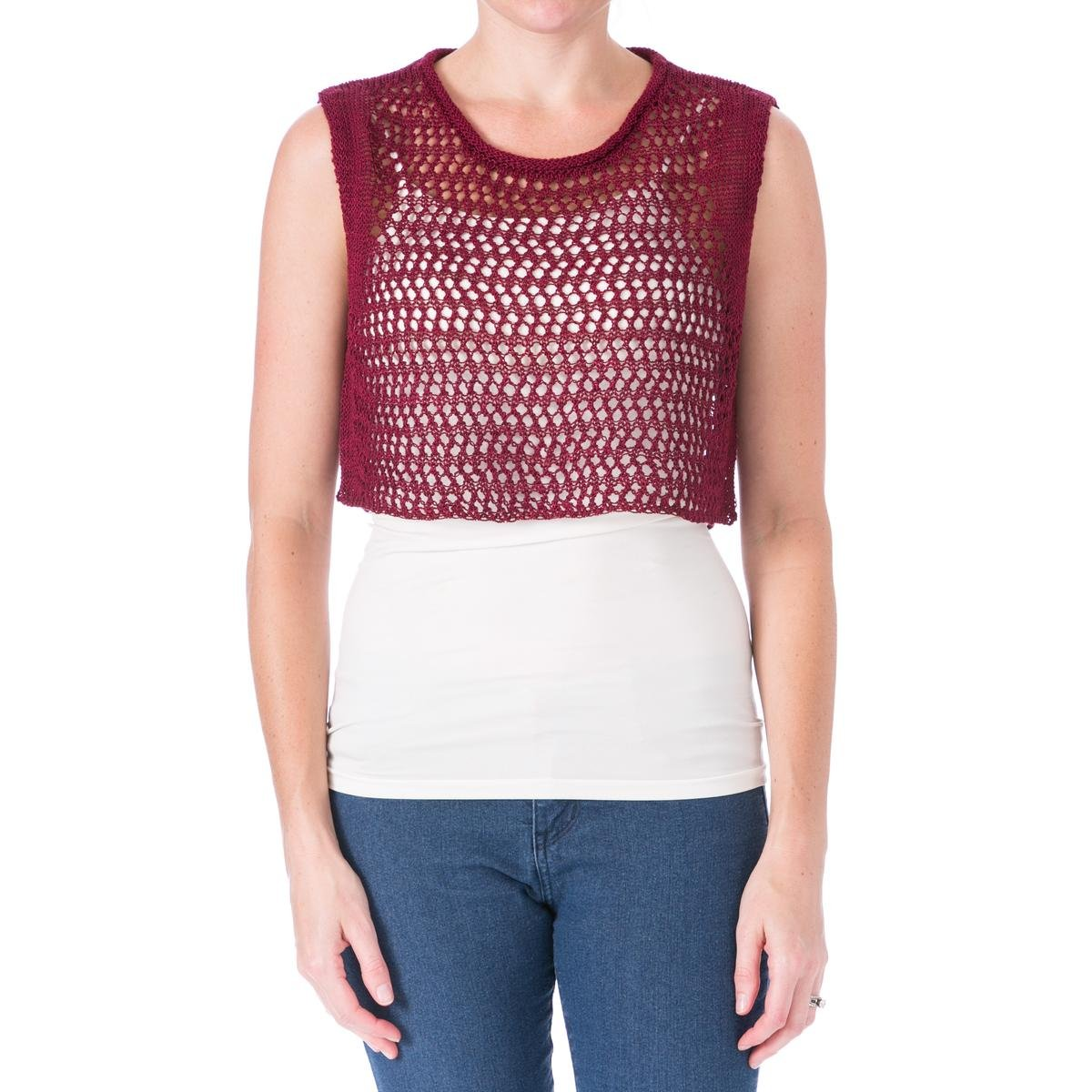 Elizabeth and James Womens Cord Pointelle Linen Sleeveless Crop Top Red M
